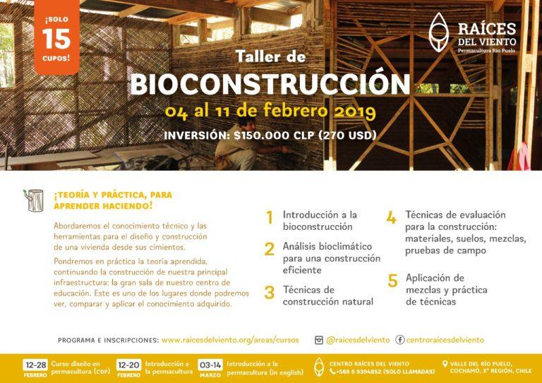 Afiche Taller Bioconstrucción febrero 2019